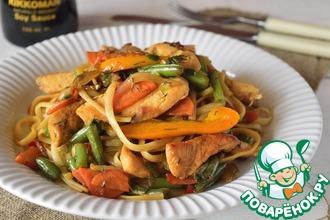 Рецепт: Спагетти с курицей и овощами
