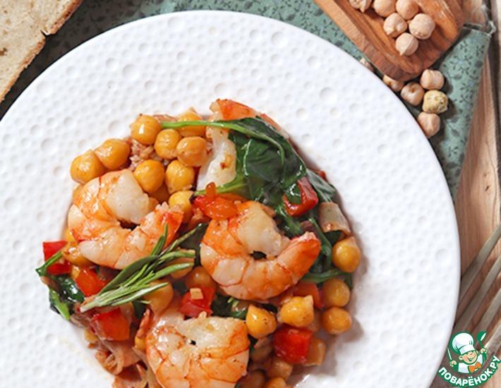 Рецепт: Тушеный нут с креветками и беконом