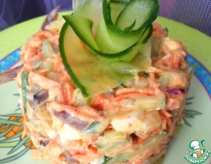 Рецепт: Салат с сердцем, маринованным луком и огурцом