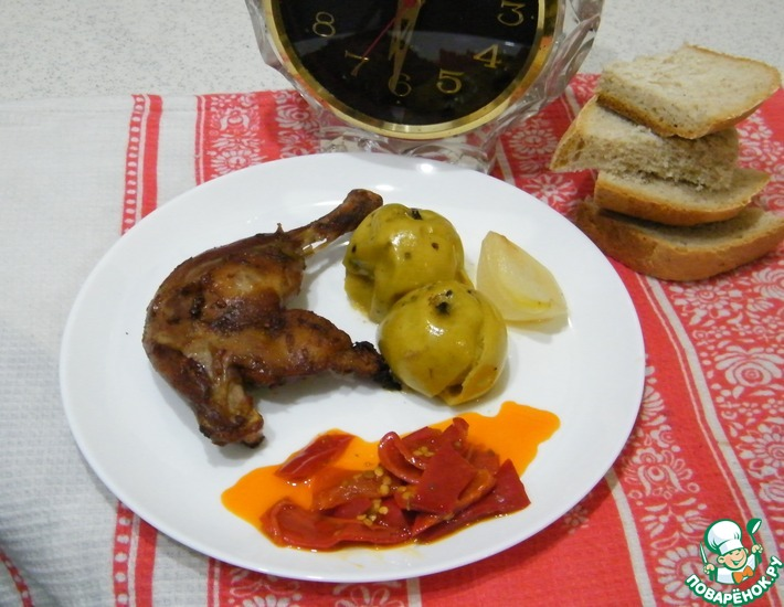 Рецепт: Утиные ножки, запеченные с яблоками