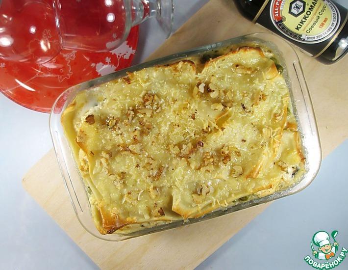 Рецепт: Рыбная лазанья с зеленым горошком