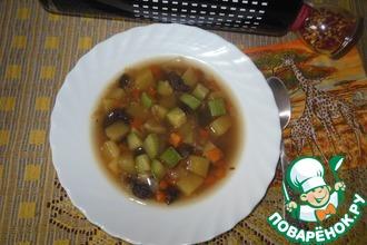 Рецепт: Грибной суп с чечевицей