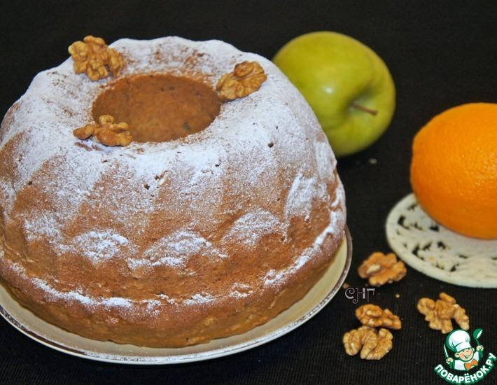 Рецепт: Греческий кекс с яблоком и орехами