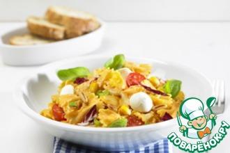 Рецепт: Салат с фарфалле и сыром моцарелла