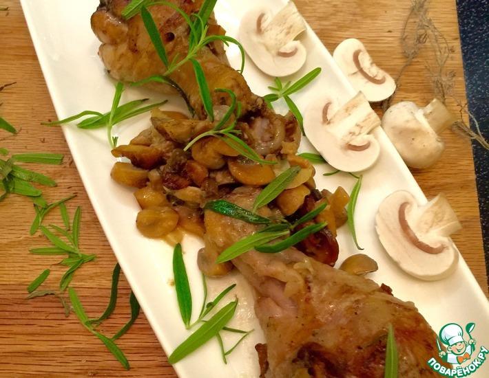 Рецепт: Курочка в горчичном соусе с грибами