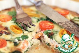 Рецепт: Киш с белой рыбой, креветками и шпинатом