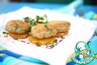 Рецепт: Азиатские рыбные котлеты с огуречным чили салатом