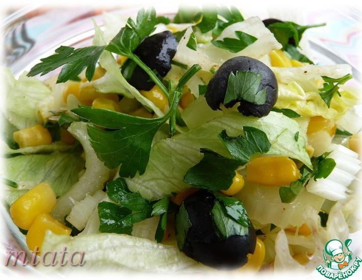 Рецепт: Салат из кукурузы с сельдереем и маслинами