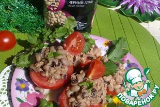 Рецепт: Сэндвич с белой фасолью, тунцом и помидорами