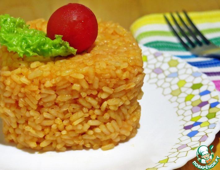 Рецепт: Гарнир Томатный рис с сыром