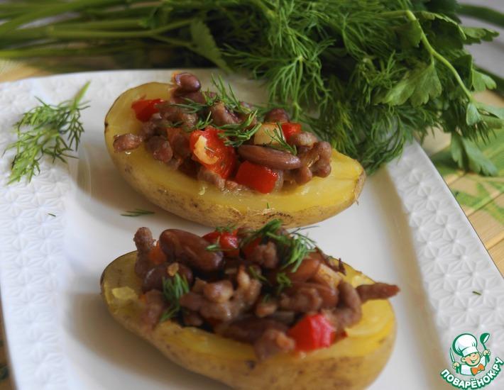 Рецепт: Картофель, фаршированный рагу