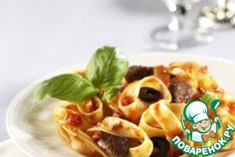 Рецепт: Феттучине с телятиной и оливковым соусом