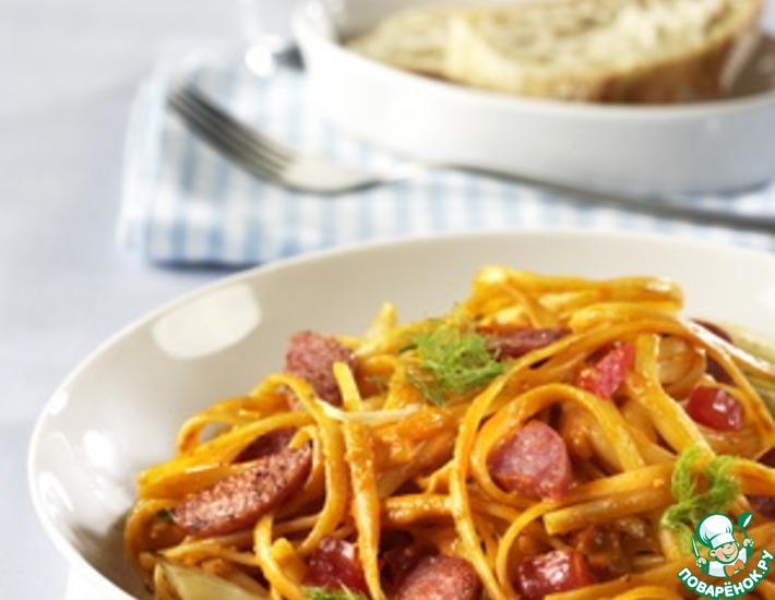 Рецепт: Баветте с салями и луком-пореем