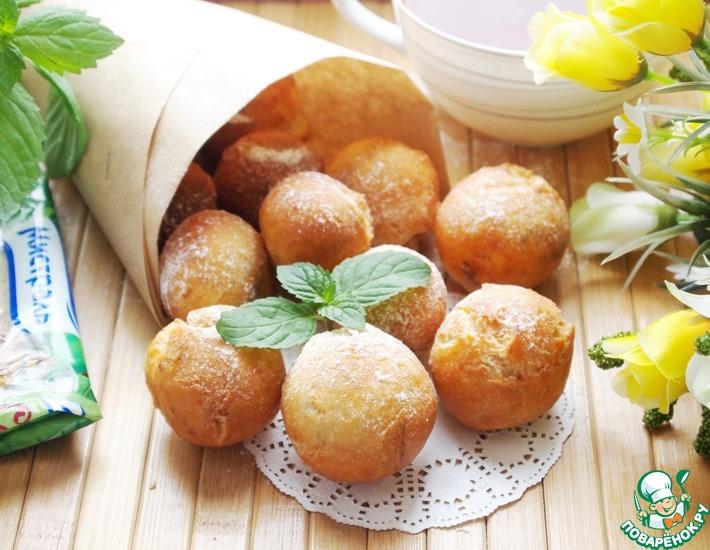 Рецепт: Творожные пончики с корицей