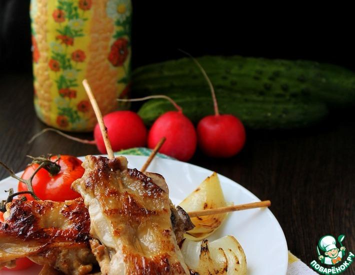 Рецепт: Шашлык из куриных бедрышек