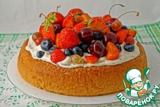 Рецепт: Торт Чадейка со сливками и ягодами