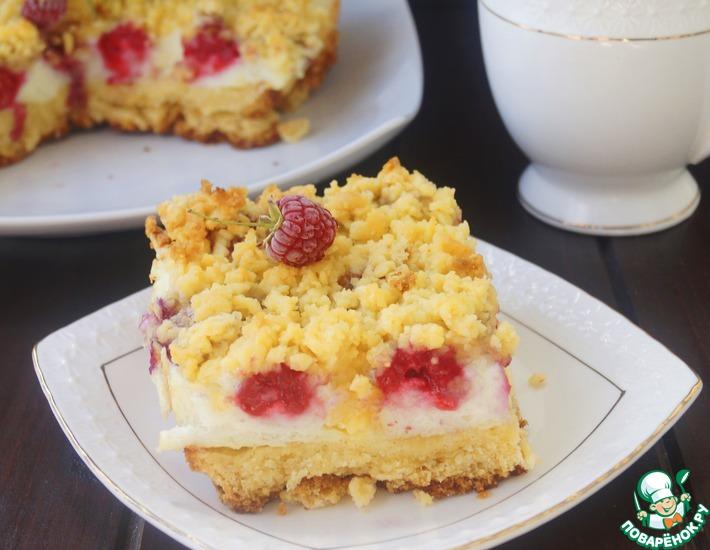 Рецепт: Тертый пирог с безе и малиной