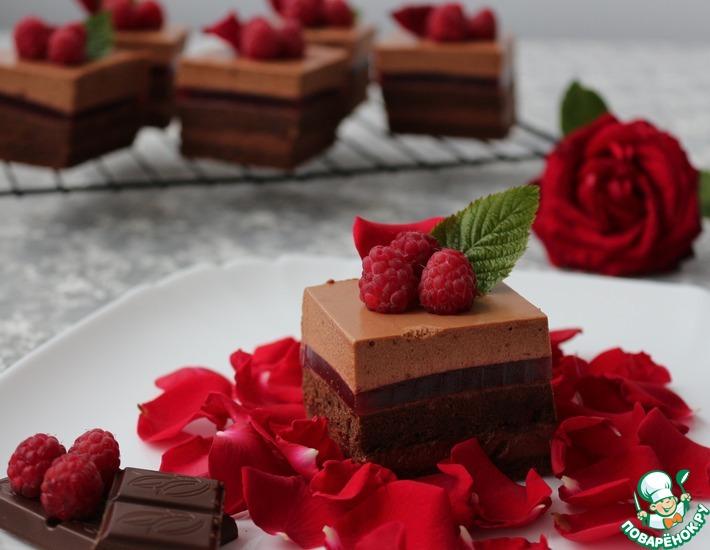 Рецепт: Пирожные Шоколадно-малиновое удовольствие
