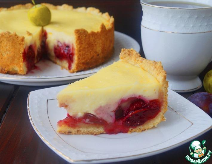 Рецепт: Пирог с творогом и сливой