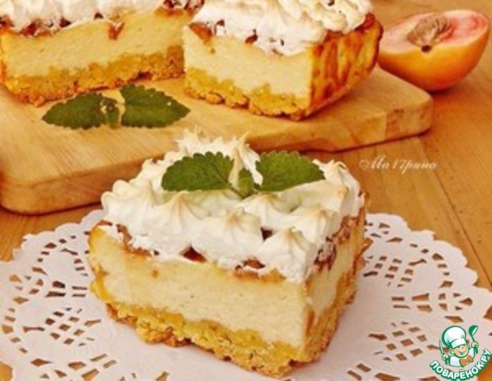 Рецепт: Творожной пирог с персиками
