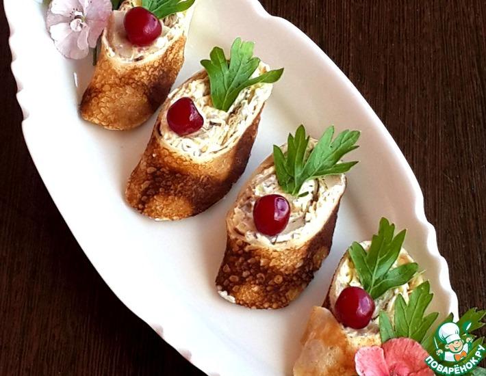 Рецепт: Блинные рулетики с грибами и сыром