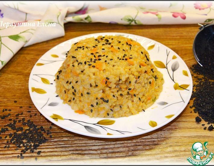 Рецепт: Ризотто томатно-сырное с черным кунжутом