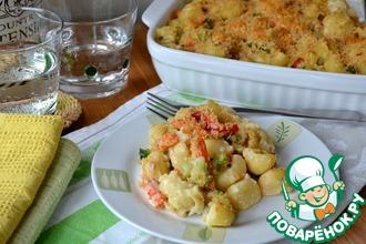 Рецепт: Макароны в духовке с овощами и тунцом
