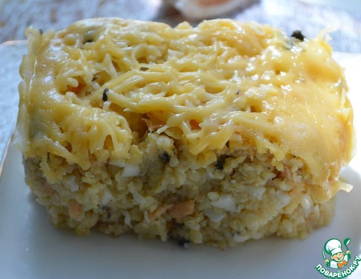 Рецепт: Пшенная запеканка с семгой и сыром
