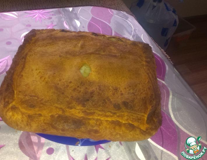 Рецепт: Слоено-дрожжевой пирог с мясом и картофелем