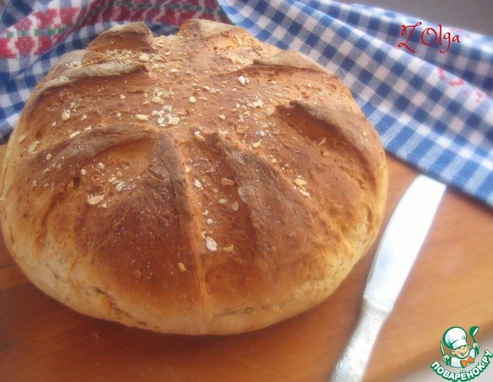 Рецепт: Хлеб на сыворотке с овсяными хлопьями