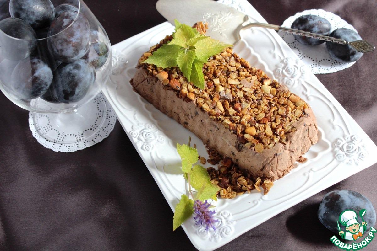 Сливово-шоколадный террин с хрустящей гранолой
