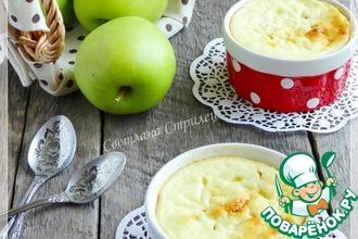 Рецепт: Пшенная запеканка с яблоками и творогом