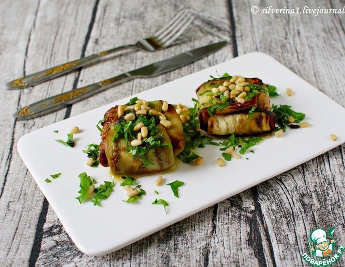 Рецепт: Конвертики из баклажанов с моцареллой и томатами