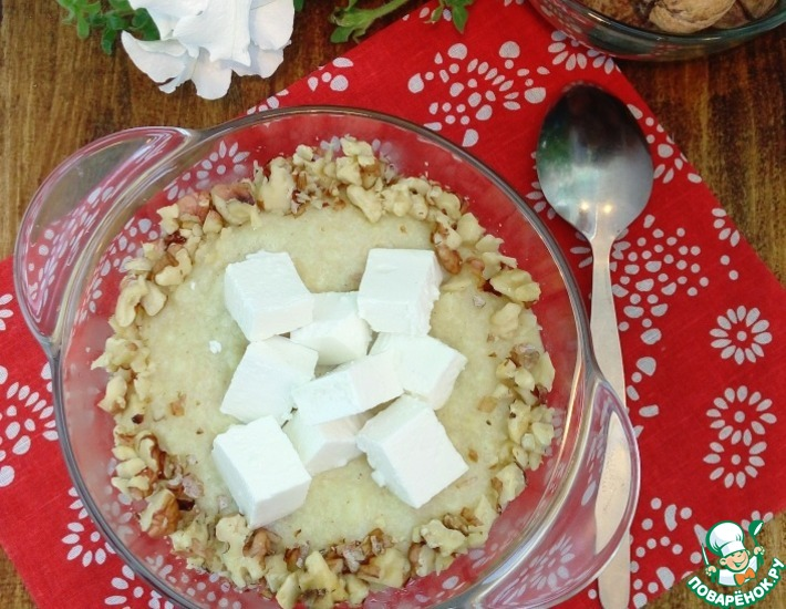 Рецепт: Пшенная каша с брынзой и орехами