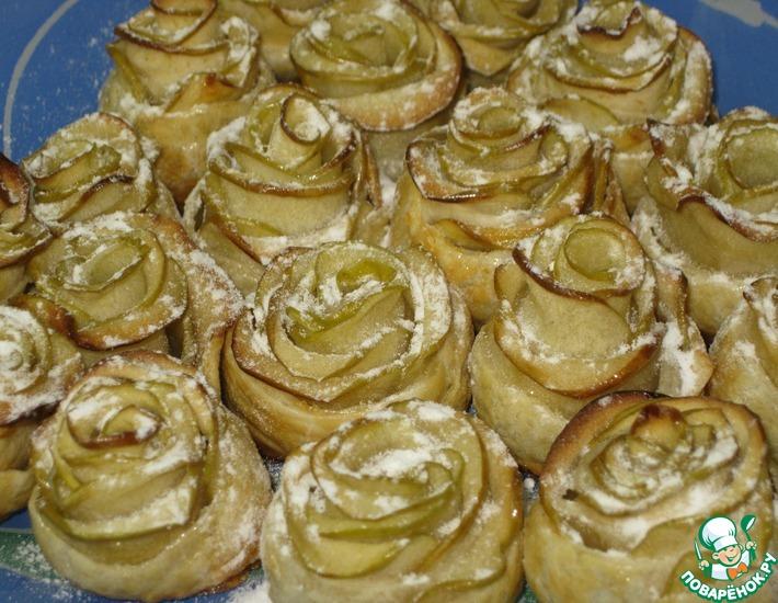 Рецепт: Яблочные пирожные Белые розы