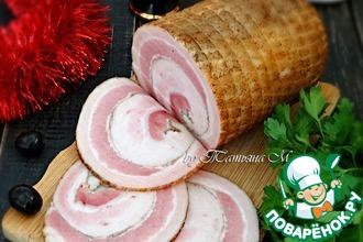 Рецепт: Подкопченный свиной рулет Праздничный