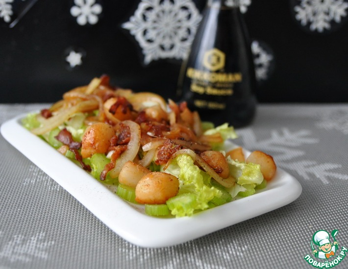 Рецепт: Салат из морского гребешка и бекона