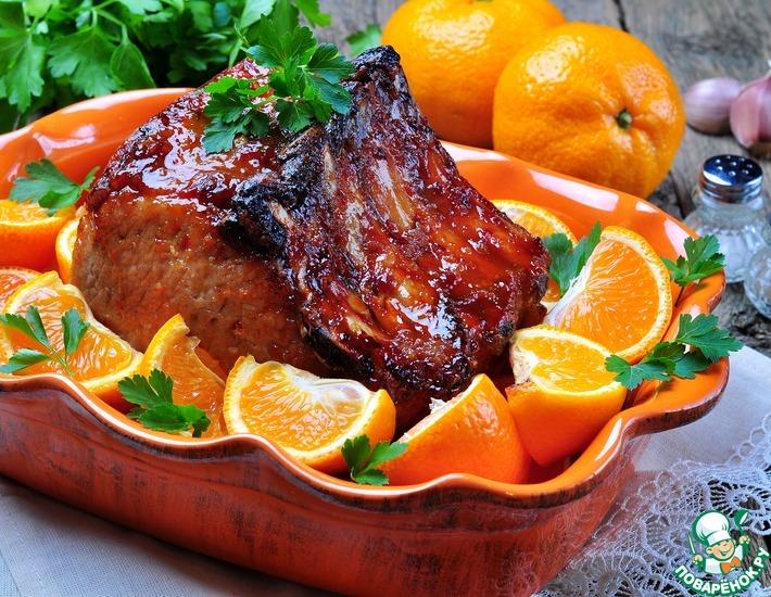 Рецепт: Запеченная свиная корейка в мандариновом соусе