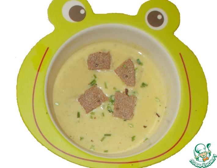 Рецепт: Крем-суп с брынзой и зеленым луком