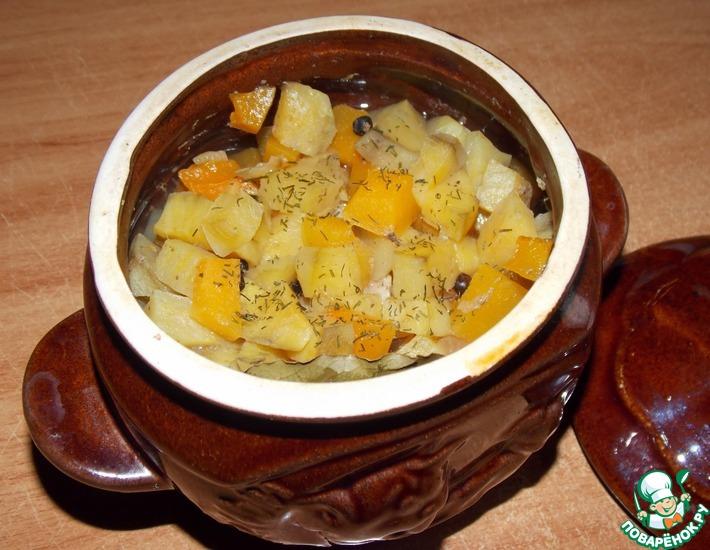 Рецепт: Горшочек с бататом и тыквой
