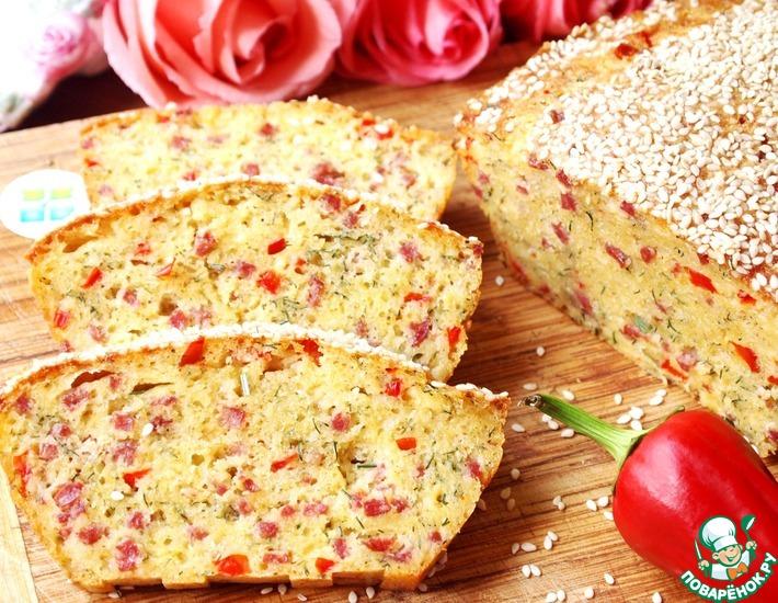 Рецепт: Закусочный кекс с салями и болгарским перцем