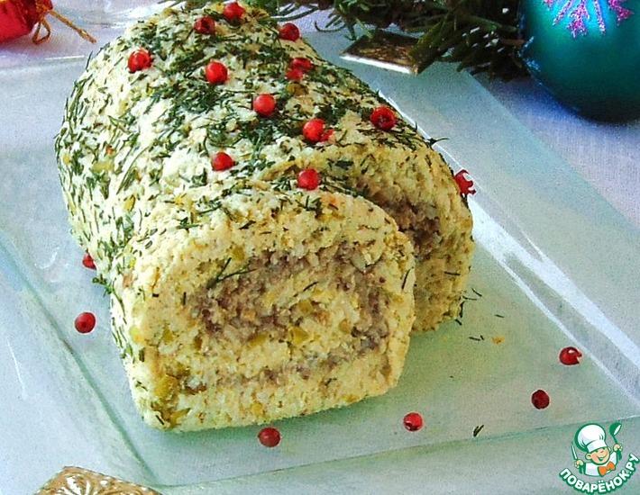 Рецепт: Рождественский мясной рулет без выпечки