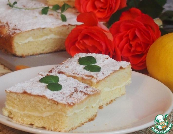Рецепт: Лимонно-творожный пирог