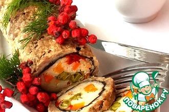 Рецепт: Диетический мясной рулет с рисом и овощами