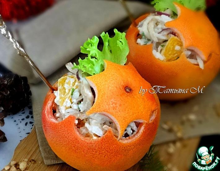 Рецепт: Новогодние апельсиновые шары с салатом