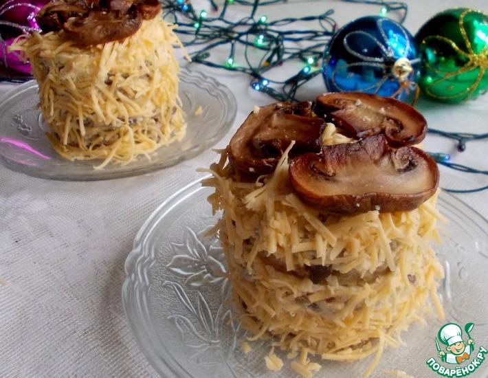 Рецепт: Закусочные пирожные с баклажаном и грибами