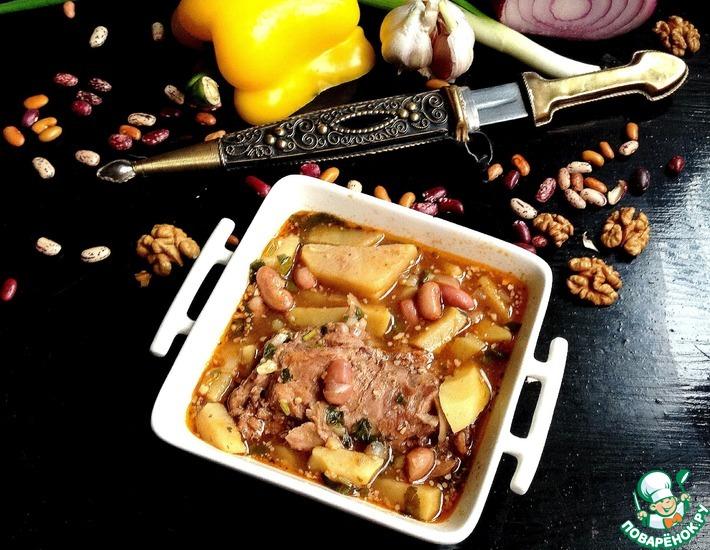 Рецепт: Грузинский фасолевый суп с кроликом