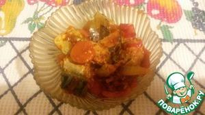 Рецепт Скумбрия с овощами, запеченная в духовке