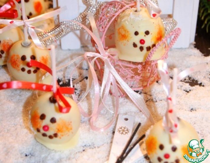 """Шоколадные кейк-попсы """"Снеговики"""""""