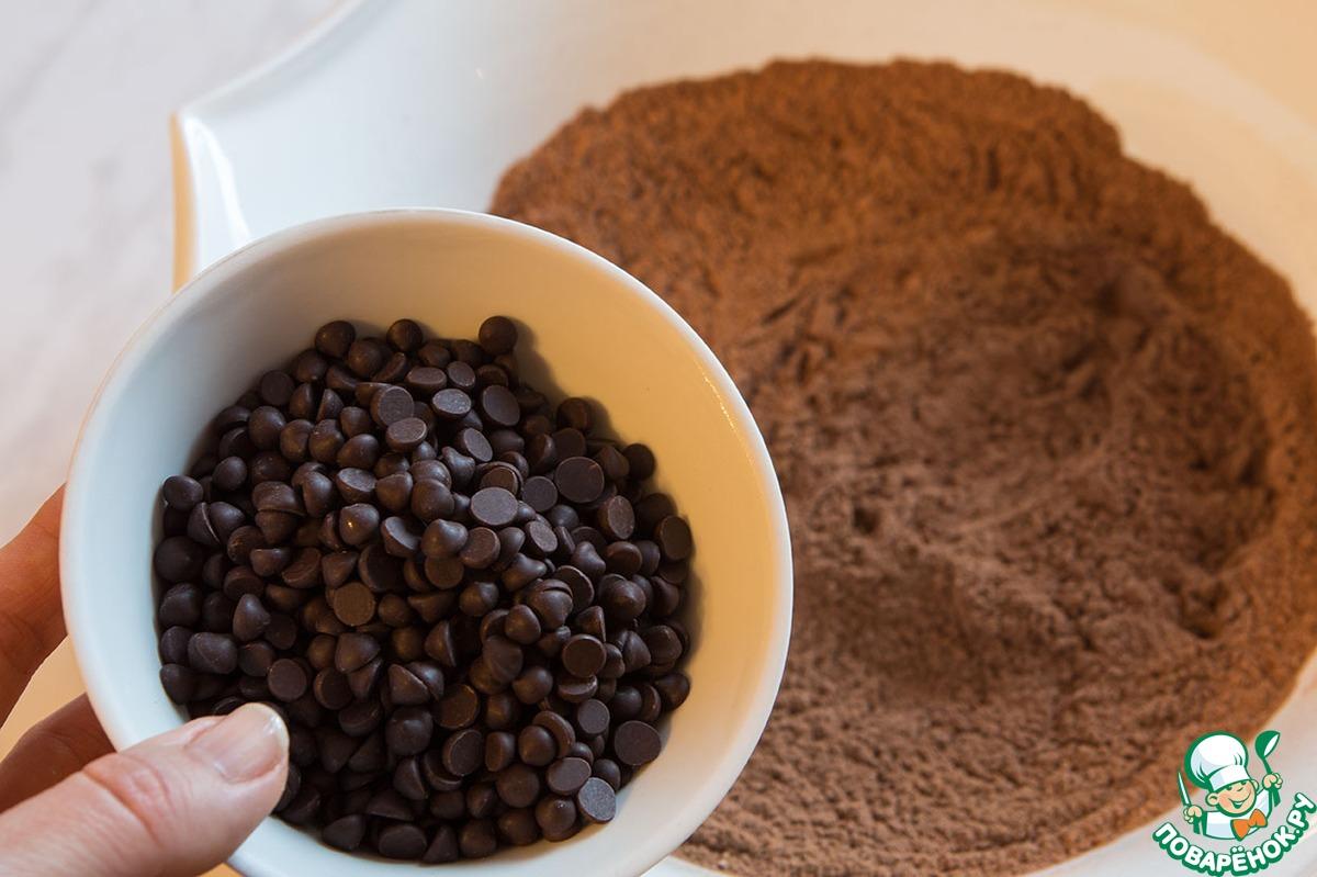 Нежнейшее шоколадное печенье с капельками шоколада